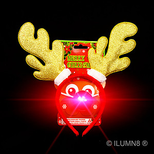 Headband - Gold Glitter Reindeer Antlers with LED Flashing Nose