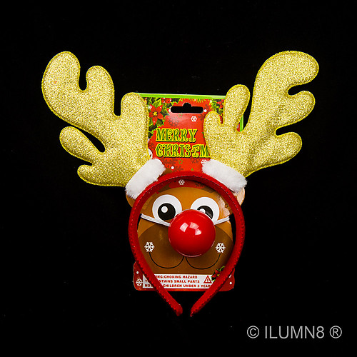 REINDEER ANTLERS-GLITTER GOLD W/LIGHT UP NOSE-1 SET