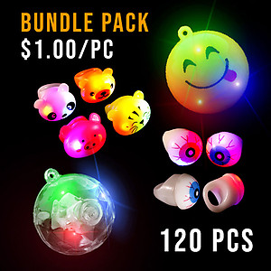 BUNDLE DEAL - MEGA PARTY NECKLACE & RING SMALL PACK - 120 PC