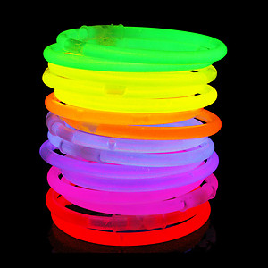 100 x 8 Inch Glow Stick Bracelets 5 Colour Mix
