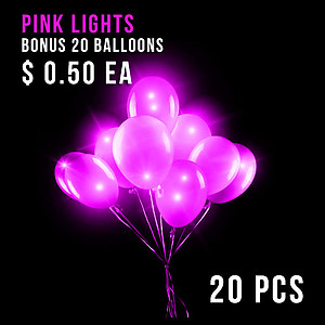 BALLOON LIGHTS-NEW PINK-20 PC+20 BALLOONS