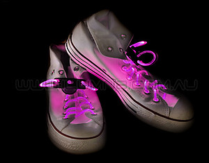 Flashing LED Shoelaces 1 Pair - Pink