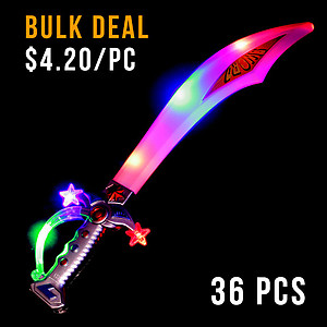 36 x Flashing LED Sword - Pirate Cutlass with Sound Effects 51cm