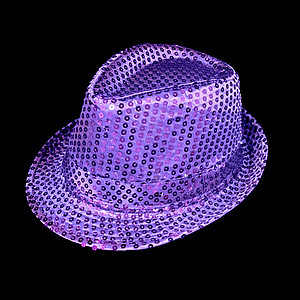 LED Hat - Purple Fedora Hat - Purple Sequin with 6 Flashing Lights