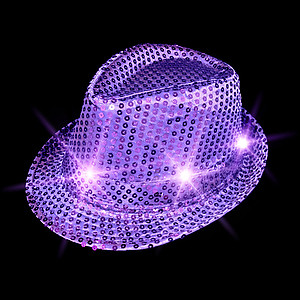 FLASHING HAT-FEDORA PURPLE SEQUIN-1PC