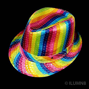 LED Hat - Rainbow Fedora Hat with 6 Flashing Lights