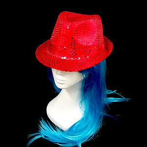 LED Hat - Red Fedora Hat - Red Sequin with 6 Flashing Lights