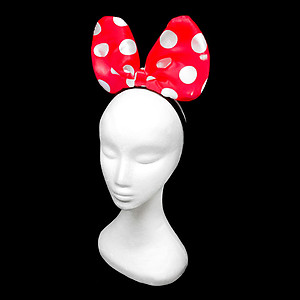 Flashing LED Headband - Red with White Polka Dots