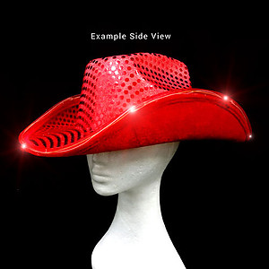 Flashing Cowboy Hat - Sequin Red