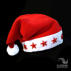 1 x 38cm Santa Hat With Light Up Stars