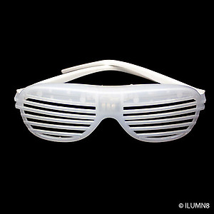 1 x Flashing 'Shutter Shades' (Sunglasses) - White with Red/Blue/Green Lights