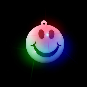 24 x Flashing Necklaces - Jumbo Cute Smiley Face Flashes Red/Green/Blue - 3 Modes
