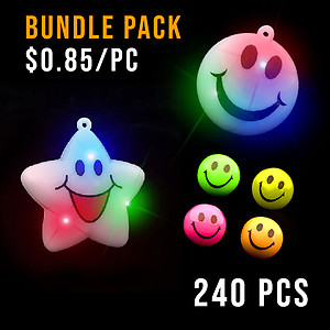 BUNDLE DEAL - SMILEY PARTY NECKLACE & RING MEDIUM PACK - 240 PC