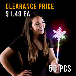 50 x Flashing Crystal Snowflake Wand 41cm