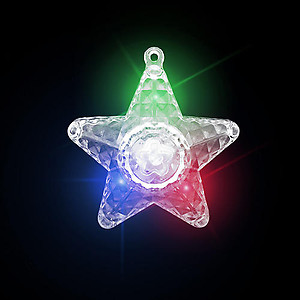 24 x Flashing XL Star Prism Necklaces Flashes Red/Green/Blue - 3 Modes