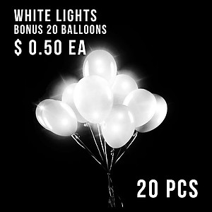 20 x Balloon Lights White + Bonus Balloons