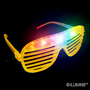 1 x Flashing 'Shutter Shades' (Sunglasses) - Yellow
