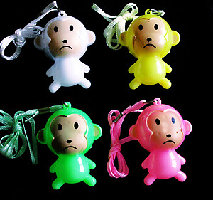 20 x Flashing Necklaces - Jumbo Cute Monkeys