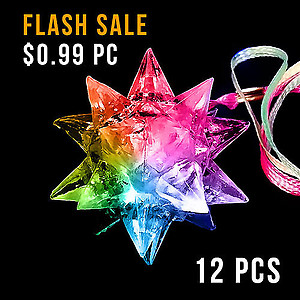 12 x Flashing Necklaces Jelly Spikey Ball  (Squeeze N Flash)
