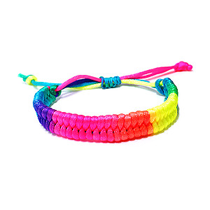 12 x UV/Blacklight Reactive Fluro Wide Cotton Bracelets - Rainbow (Non-Flash)