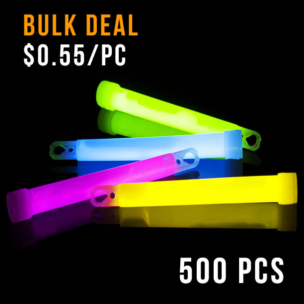 GLOW STICK-6INCH-500PCS-BULK DEAL-MIXED