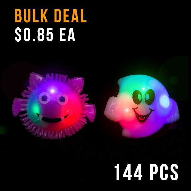 FLASHING RINGS-COMBO PACK-JELLY GHOST-JELLY BAT-144PC DBOX