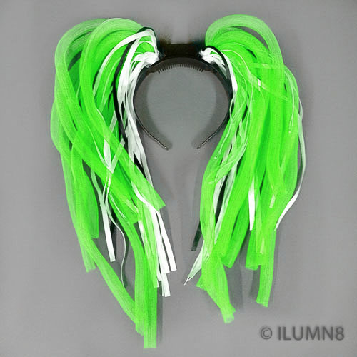 FLASHING HEADBOPPER-NOODLE HAIR GREEN-1PC