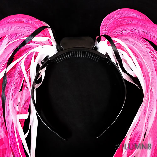 FLASHING HEADBOPPER-NOODLE HAIR PINK-1PC