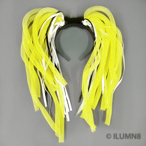 FLASHING HEADBOPPER-NOODLE HAIR YELLOW-1PC