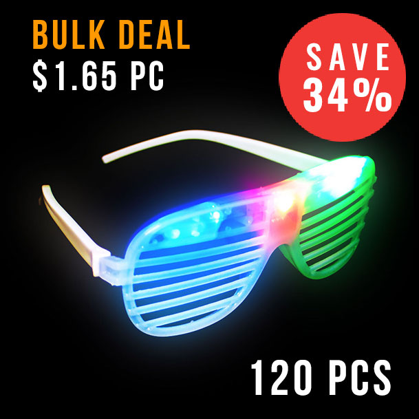 FLASH SUNGLASSES-120PCS/CTN-SHUTTER-TRANSLUCENT-RGB