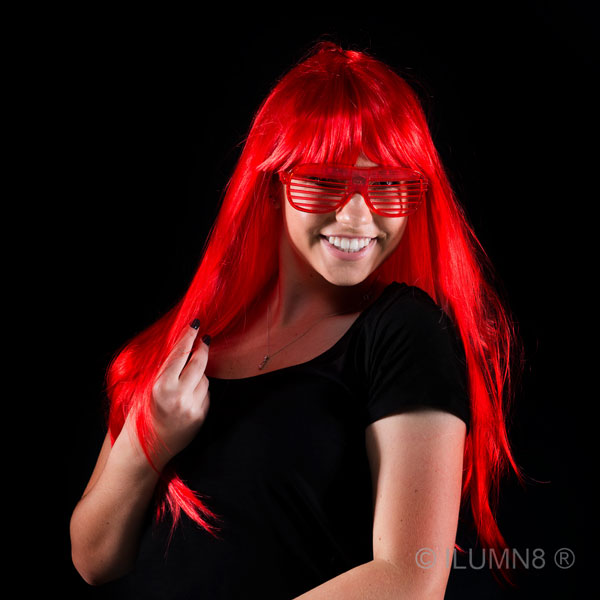 DELUXE LONG HAIR WIG-FLURO RED-1PC
