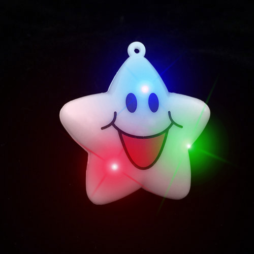 FLASHING NECKLACE-JUMBO HAPPY STAR-24PC DBOX