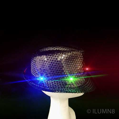 FLASHING HAT-FEDORA BLACK SEQUIN-1PC