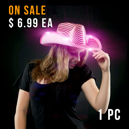 FLASHING HAT-COWBOY SEQUIN PINK-1PC