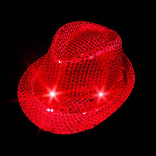 FLASHING HAT-FEDORA RED SEQUIN-1PC