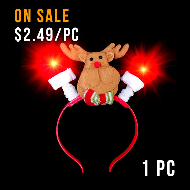FLASHING HEADWEAR-REINDEER HEAD BOPPER-1PC