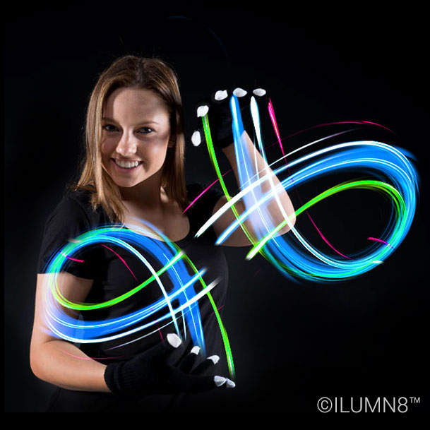FLASHING TOY-B&W LIGHT UP GLOVES-1PAIR
