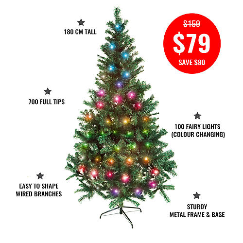 PINE CHRISTMAS TREE-180CM + 10MTR COLOUR CHANGE FAIRY LIGHTS