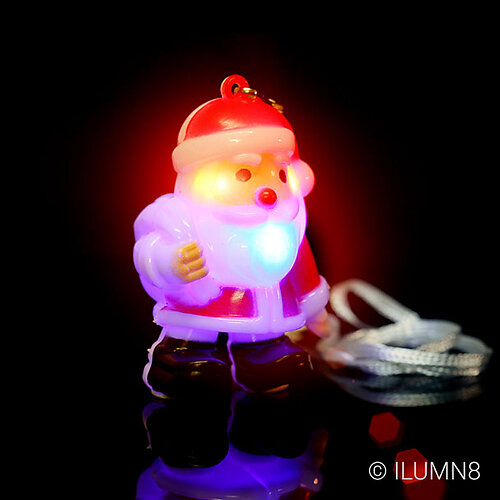 FLASHING NECKLACE-JUMBO SANTA-80PC CTN