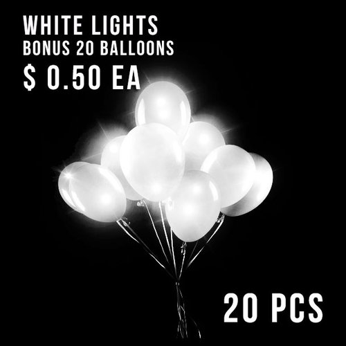 BALLOON LIGHTS-NEW WHITE-20 PC + 20 BALLOONS